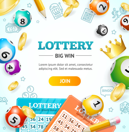 Lottery Concept Banner Card with Realistic 3d Detailed Elements. Vector