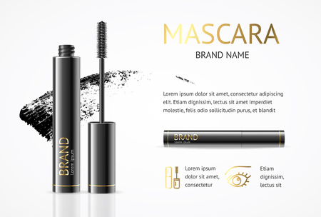 Realistic 3d Detailed Mascara Black Package with Eyelash Applicator Brush Makeup Concept Banner Card. Vector illustration of Cosmetics Advertising