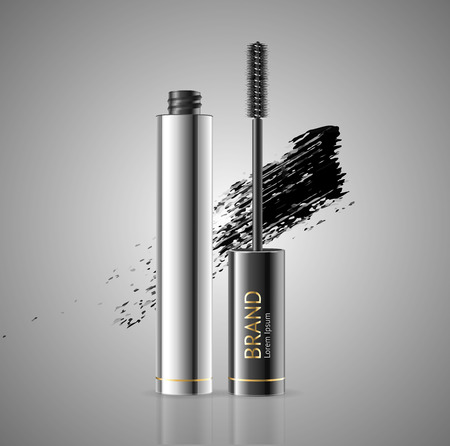 Realistic 3d Detailed Mascara Package with Eyelash Applicator Brush Makeup Concept for Web. Vector illustration of Luxury Cosmetic