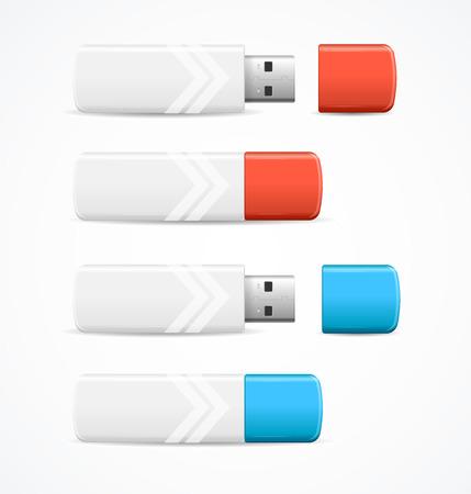 Set di unità flash USB dettagliate 3d realistiche vista aperta e chiusa. Illustrazione vettoriale di accessori rimovibili hardware Vettoriali