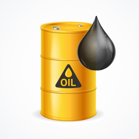 Realistic 3d Detailed Oil Barrel and Drop. Vector Standard-Bild - 113359295