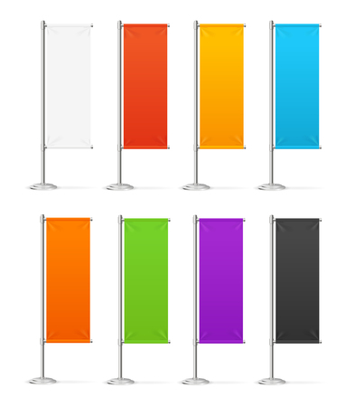 Realistic 3d Detailed Color Advertising or Beach Flags Set. Vector Standard-Bild - 113359297