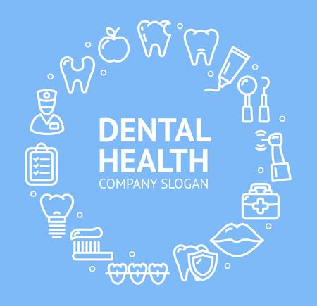 Dental Health Round Design Template Line Icon Concept. Vector Standard-Bild - 113359299