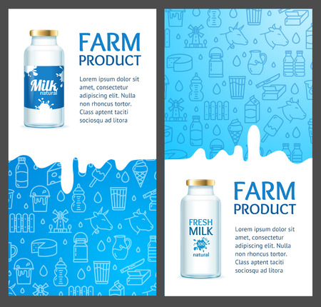 Fresh Milk Banner Vertical Set with Realistic Detailed 3d and Thin Line Elements. Vector illustration of Farm Product