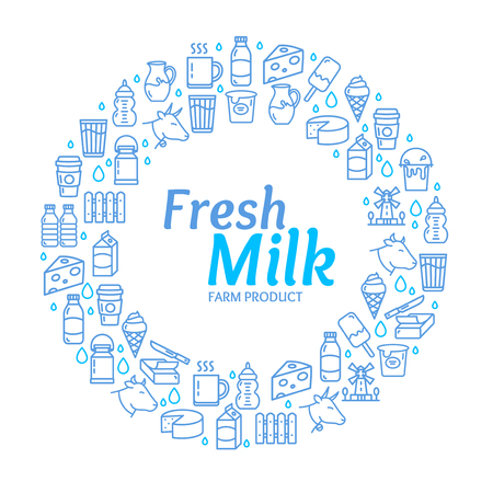 Fresh Milk Dairy Signs Round Design Template Thin Line Icon Concept Frame or Border for Text on a White. Vector illustration