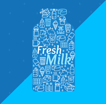 Cartoon Fresh Milk Dairy Products Concept on a Blue Background for Marketing and Promotion Business. Vector illustration