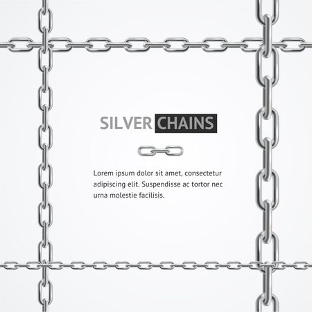 Realistic 3d Detailed Chain Frame Steel Stability or Secure Concept for Business Symbol of Protection. Vector illustration 일러스트