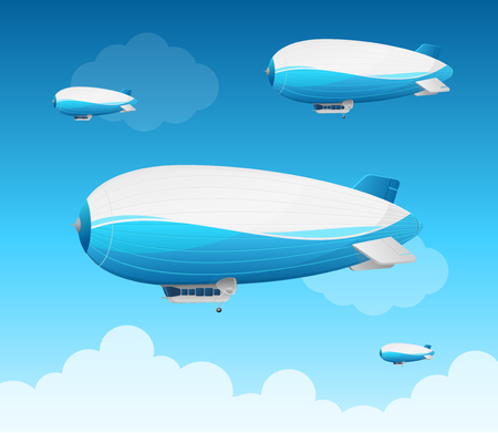 Realistic 3d Detailed Dirigible Fly Background Card in a Blue Sky with Clouds. Vector illustration of Air Transport