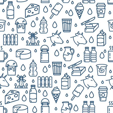 Lait Produits laitiers Signes sans soudure de fond sur un fond blanc pour le Web et la conception d'applications. Illustration vectorielle