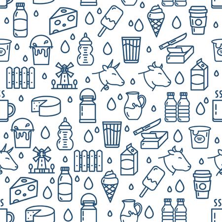 Leche, productos lácteos, signos, seamless, patrón, plano de fondo, en, un, blanco, para, web, y, app, design. Ilustración vectorial