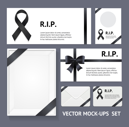 Realistic Detailed 3d Black Mourning Symbols and Blank Empty Template Mockup Card Set. Vector illustration of Mock Up Banner