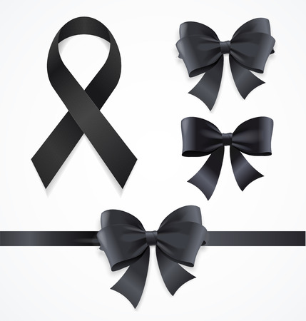 Realistic Detailed 3d Black Mourning Symbols Set Include of Bow, Tape or Ribbon and Loop. Vector illustration