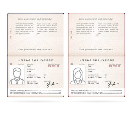 Realistic Detailed 3d Male and Female International Passport Blank Set. Vector illustration  イラスト・ベクター素材