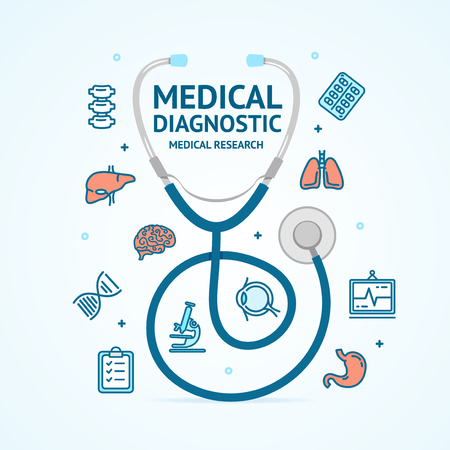 Medical Diagnostics Concept Stethoscope and Thin Line Icons Include of Doctor, Heart, Microscope, Pill and Syringe. Vector illustration Illustration