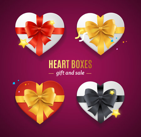 Realistic Detailed 3d Heart Present Boxes Template with Bow Set. Vector illustration of Giftbox for Celebration Valentine Day Standard-Bild - 115177685