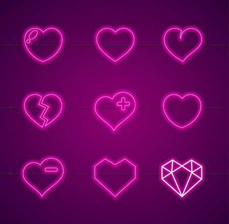 Heart Neon Signs Thin Line Icon Set Symbol of Valentine Day Love and Romance. Vector illustration of Icons