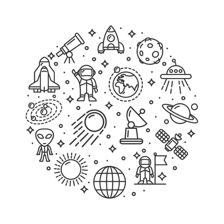 Space Signs Round Design Template Thin Line Icon Concept. Vector