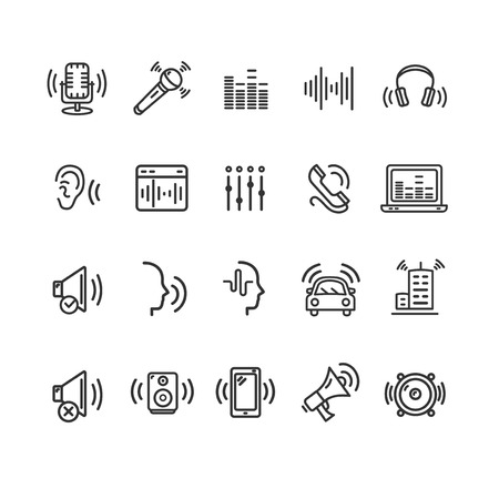 Sound Wave Signs Black Thin Line Icon Set Include of Microphone, Voice, Mixer, Equalizer, Mobile, Headphone and Loudspeaker. Vector illustration of Icons