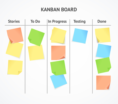 Realistic 3d Detailed Kanban Board with Color Sticky Notes. Vector Illustration