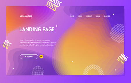 Landing Page Template on Abstract Color Background Design. Vector Çizim