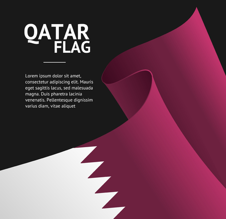 Realistic 3d Detailed Qatar Flag Banner Background for Web and App Design. Vector illustration of Qatari Travel Poster
