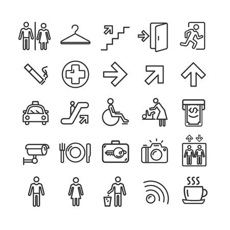 Public Navigation Signs Black Thin Line Icon Set Include of Arrow, Toilet, Elevator and Restaurant. Vector illustration of Icons