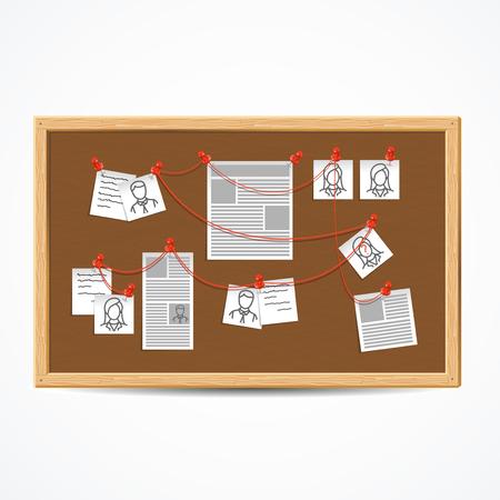 Realistische 3D detaillierte Untersuchungstafel oder Detektivkarte. Vektor Vektorgrafik