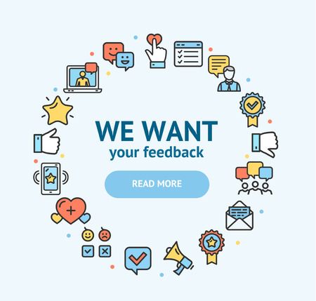 Feedback Signs Round Design Template Thin Line Icon Concept. Vector Çizim