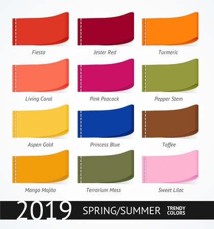 Spring and Summer Trendy Colors Label Set. Vector  イラスト・ベクター素材