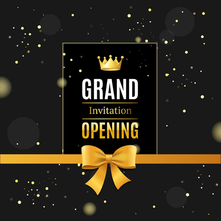 Grand Opening Card Poster Background on a Dark. Vector Çizim