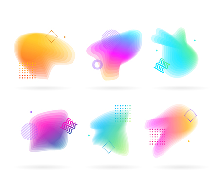 Color Spots with Abstract Memphis Style Elements Set. Vector