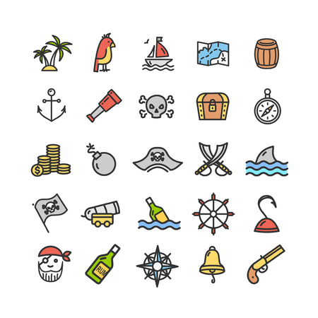 Pirate Signs Color Thin Line Icon Set. Vector