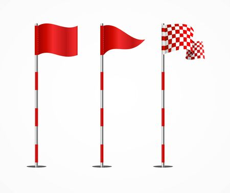 Realistic 3d Detailed Golf Flag Set. Vector