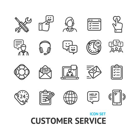 Customer Service Signs Black Thin Line Icon Set. Vector