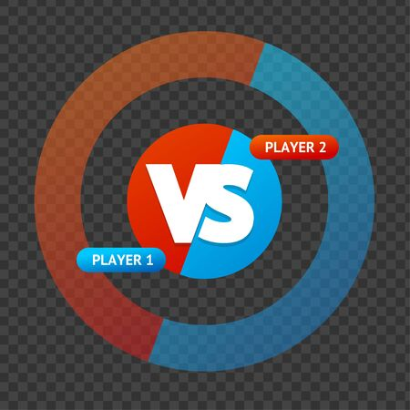 Red and Blue Versus Sign on a Transparent Background. Vector  イラスト・ベクター素材