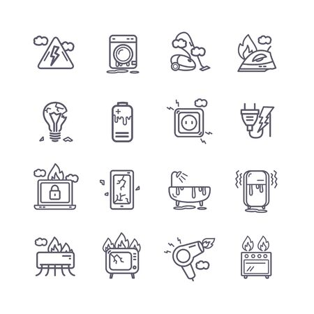 Broken Appliances Black Thin Line Icon Set. Vector  イラスト・ベクター素材