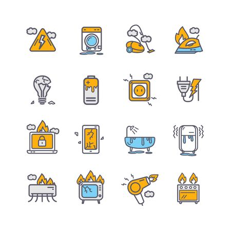 Broken Appliances Color Thin Line Icon Set. Vector