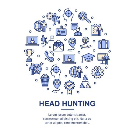 Head Hunting Signs Round Design Template Thin Line Icon Concept. Vector  イラスト・ベクター素材