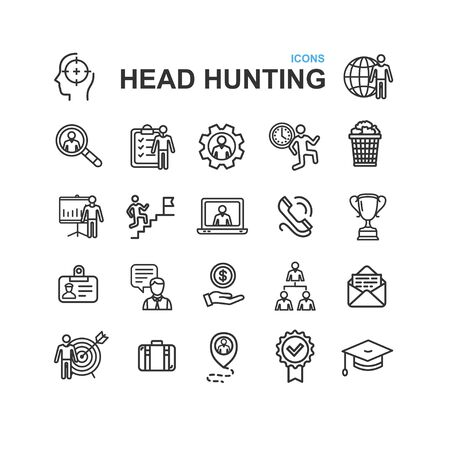 Head Hunting Black Thin Line Icon Set. Vector  イラスト・ベクター素材