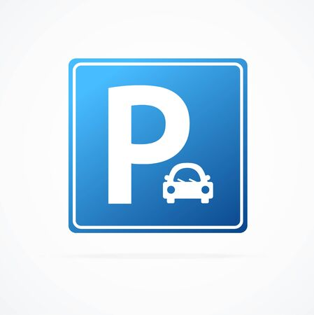 Realistic Detailed 3d Blue Parking Sign with Car. Vector  イラスト・ベクター素材