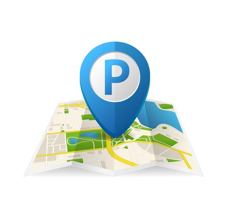 Realistic Detailed 3d Parking Blue Tag Pin for App. Vector