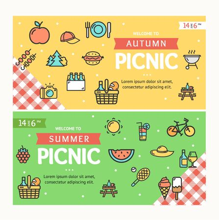 Autumn and Summer Picnic Banner Horizontal Set. Vector Standard-Bild - 129175270