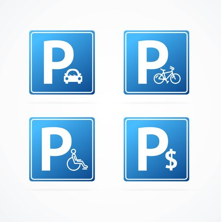Realistic Detailed 3d Different Parking Signs Set. Vector