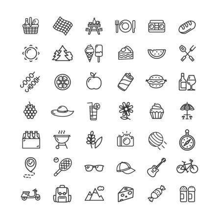 Picknick schwarz dünne Linie Icon Set. Vektor