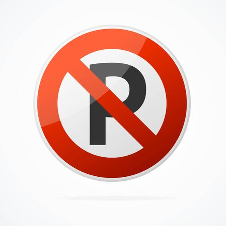 Realistic Detailed 3d No Parking Red Round Sign. Vector  イラスト・ベクター素材