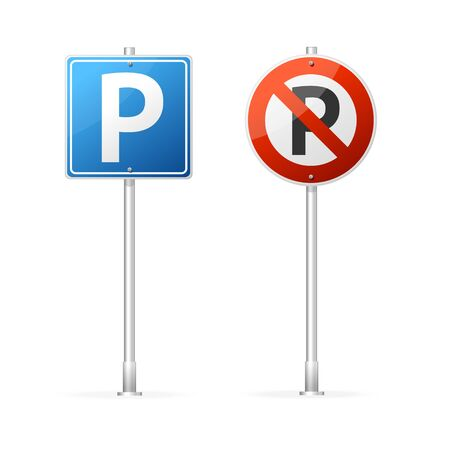 Realistic Detailed 3d No Parking and Parking Road Sign Group. Vector