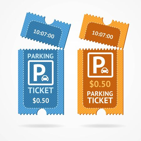 Color Torn Parking Ticket Icon Set. Vector