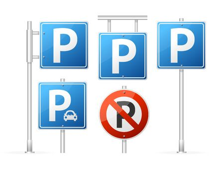 Realistic Detailed 3d Parking Road Sign Set. Vector