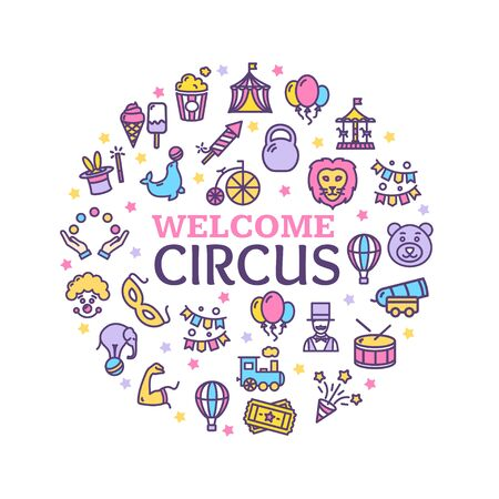 Circus Signs Round Design Template Thin Line Icon Concept. Vector  イラスト・ベクター素材