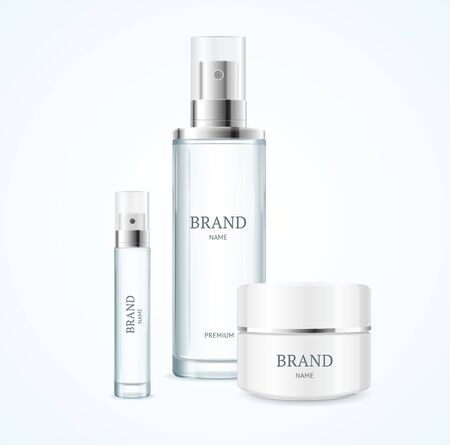 Realistic Detailed 3d Blank Cosmetic Product Brand Template Mockup Set. Vector